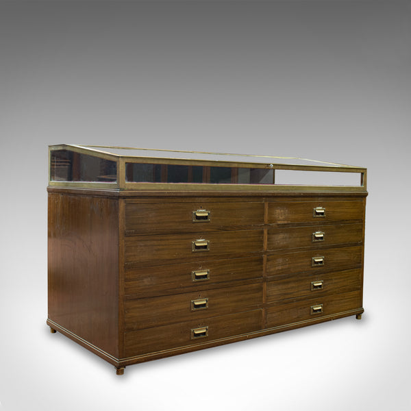 Antique Museum Display Cabinet, Bronze Showcase, Collectors Chest, Edmonds c1910 - London Fine Antiques