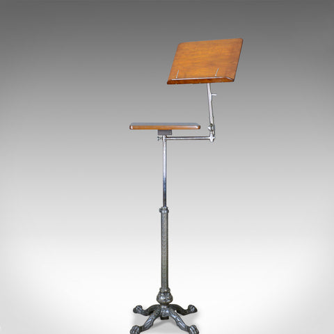 Antique Music Stand, Adjustable Reading Lectern Table, Leveson London, c1900 - London Fine Antiques