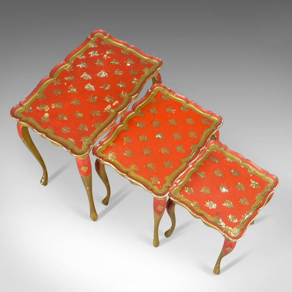 Antique Nest of Tables, Three, French, Painted, Gilt, Occasional, Circa 1900 - London Fine Antiques