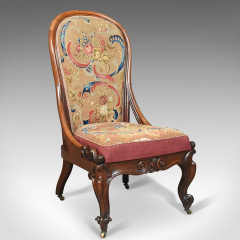 Antique Nursing Chair, English Walnut, Needlepoint Tapestry Victorian Circa 1840 - London Fine Antiques