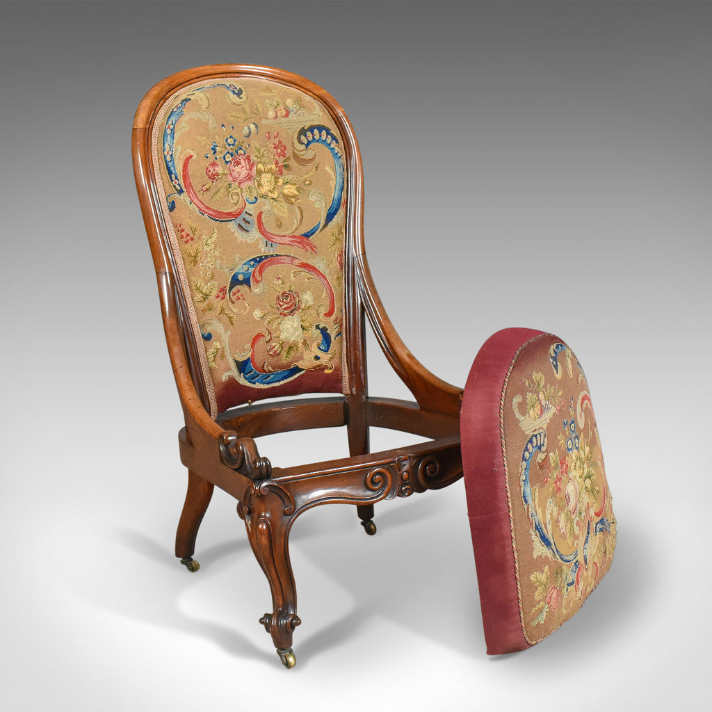 ... Antique Nursing Chair, English Walnut, Needlepoint Tapestry Victorian  Circa 1840 - London Fine Antiques ... - Antique Nursing Chair, English Walnut, Needlepoint Tapestry
