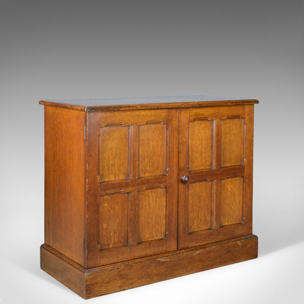 Antique Oak Cupboard, Two Door, English, Panelled, Low Cabinet Edwardian, c.1910 - London Fine Antiques