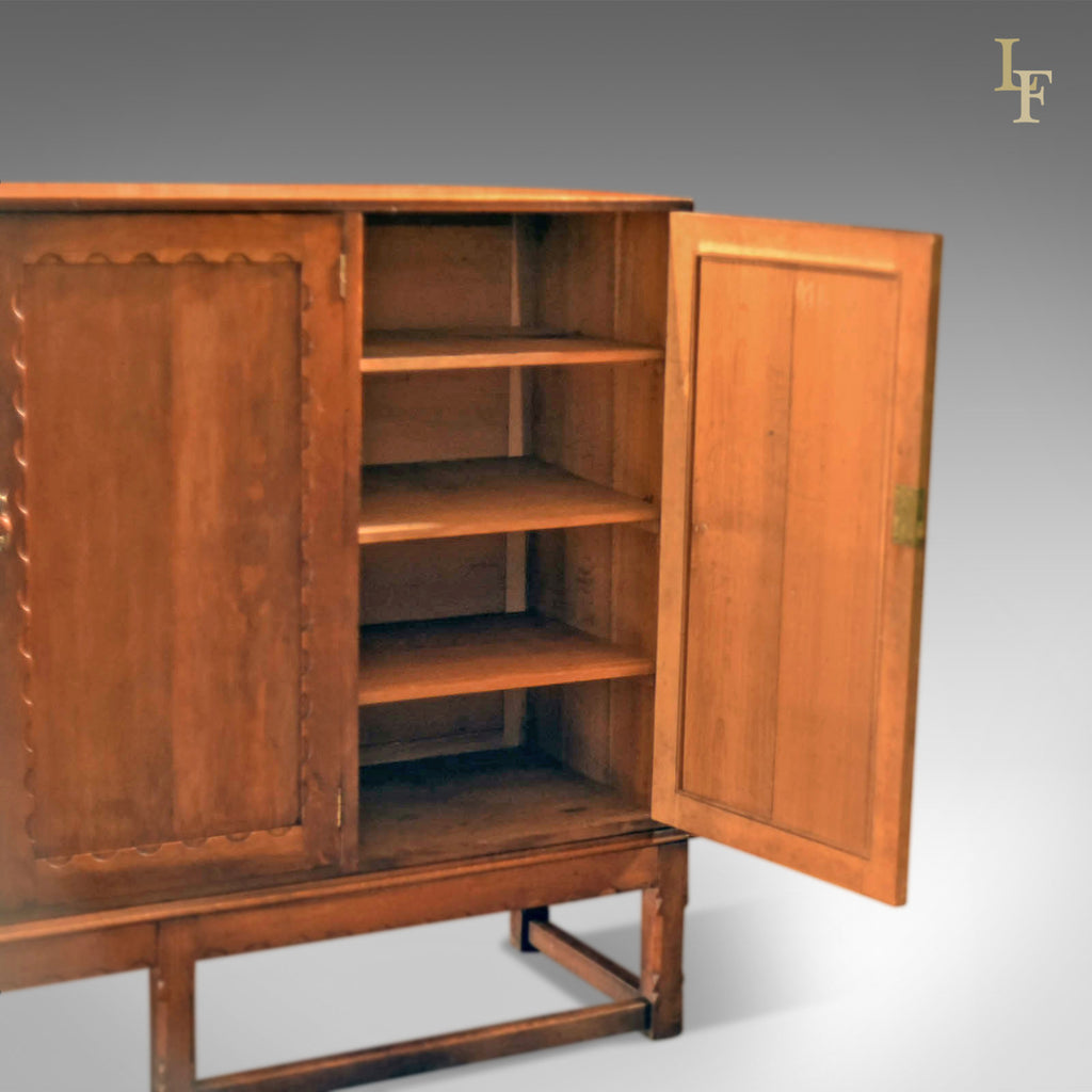 ... Arts & Crafts Oak Larder Antique Cabinet, c.1900 - London Fine Antiques  ... - Arts & Crafts Oak Larder Antique Cabinet, C.1900 – London Fine Antiques