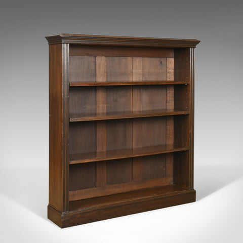 Antique Open Bookcase, English, Victorian, Book Shelves, Oak, Circa 1890