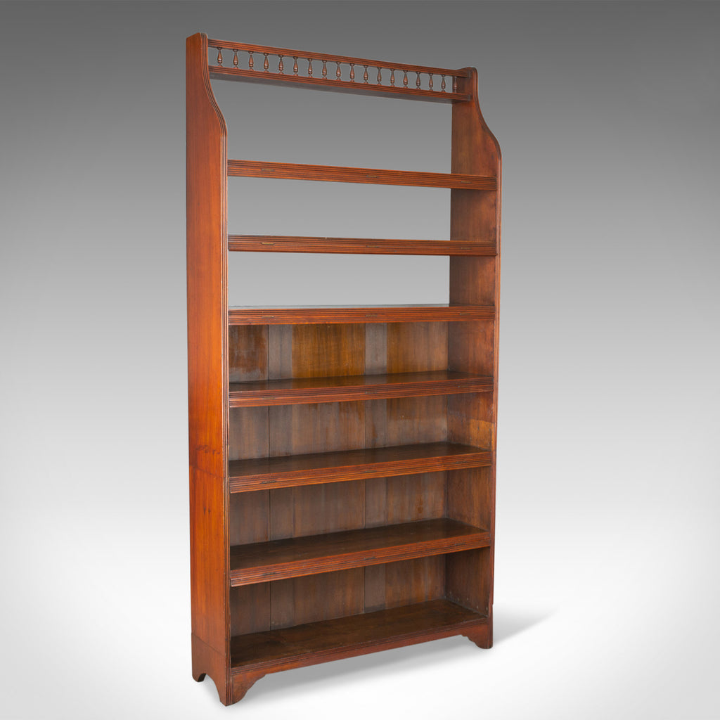 Antique Open Bookcase, Tall, English, Walnut, Book Shelves, Edwardian Circa 1910 - London Fine Antiques