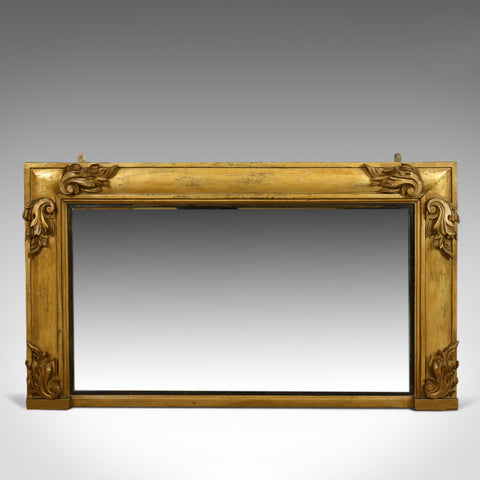 Antique Overmantel Mirror, English, Georgian, Wall, Giltwood, Gesso, Circa 1800