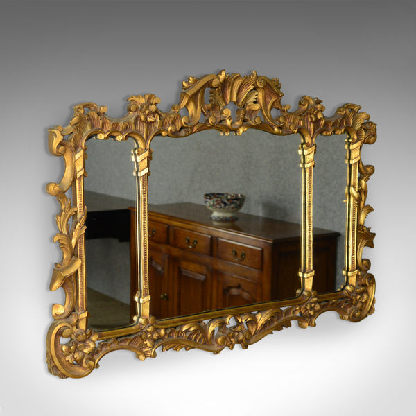 Antique Overmantel Mirror, English, Regency Revival, Giltwood, Triptych c.1900 - London Fine Antiques