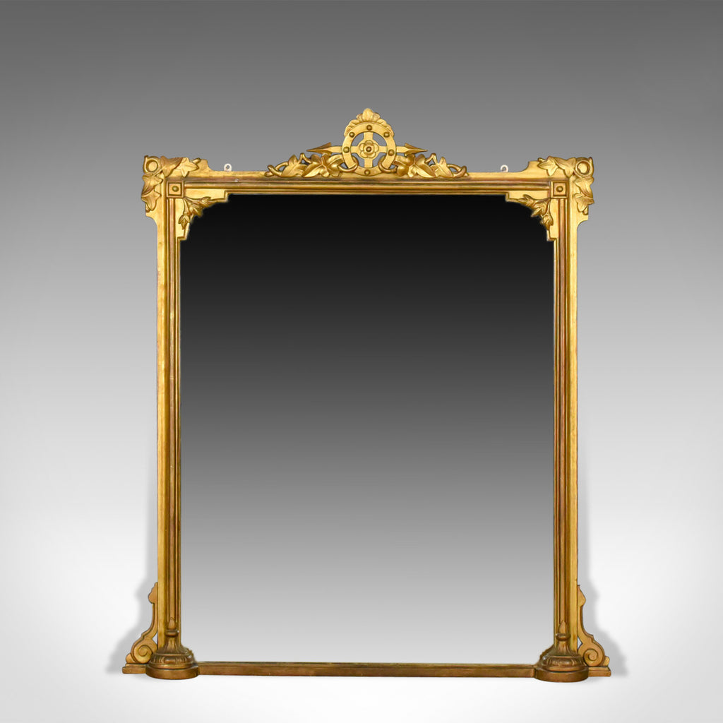 Antique Overmantel Mirror, English Victorian, Wall Giltwood and Gesso Circa 1850 - London Fine Antiques