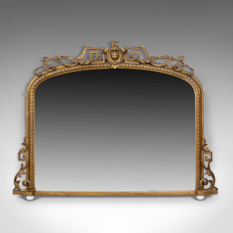Antique Overmantel Mirror, Mid-Sized, English Regency, Wall, Giltwood Circa 1820
