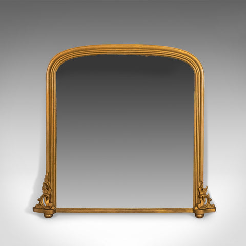 Antique Overmantel Mirror, Mid-Sized, English, Victorian, Wall, Circa 1850