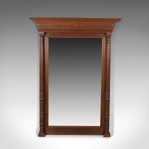 Antique Overmantel Mirror, Victorian, Classical Revival, Wall, Walnut Circa 1880