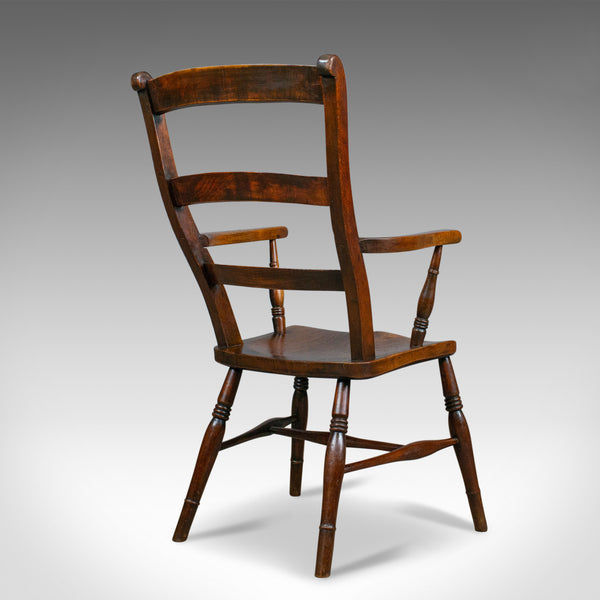 Antique Oxford Elbow Chair, Victorian, Windsor, Lath Back, Armchair, Elm, c.1850 - London Fine Antiques