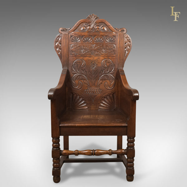 Antique Pair of Baronial Hall Chairs, English Oak Armchairs, c.1900 - London Fine Antiques