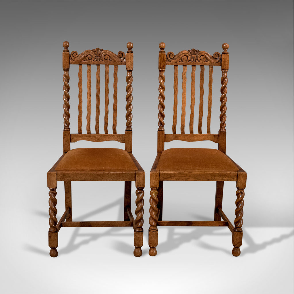 Antique Pair of Chairs, English, Oak, Dining, Side, Hall, Edwardian Circa 1910 - London Fine Antiques