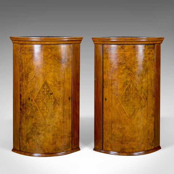 Antique Pair of Georgian Revival Corner Cabinets, English, Burr Walnut, c.1910 - London Fine Antiques