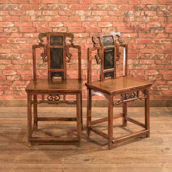 Pair of Chinese Hall Chairs, c.1900 - London Fine Antiques - 3