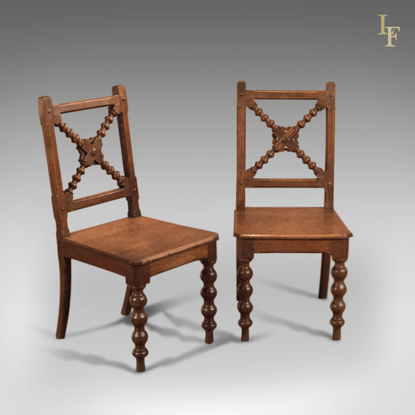 Late Victorian Pair of Oak Antique Hall Chairs - London Fine Antiques