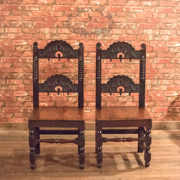 Victorian Pair of Oak Hall Chairs, c.1880 - London Fine Antiques - 2