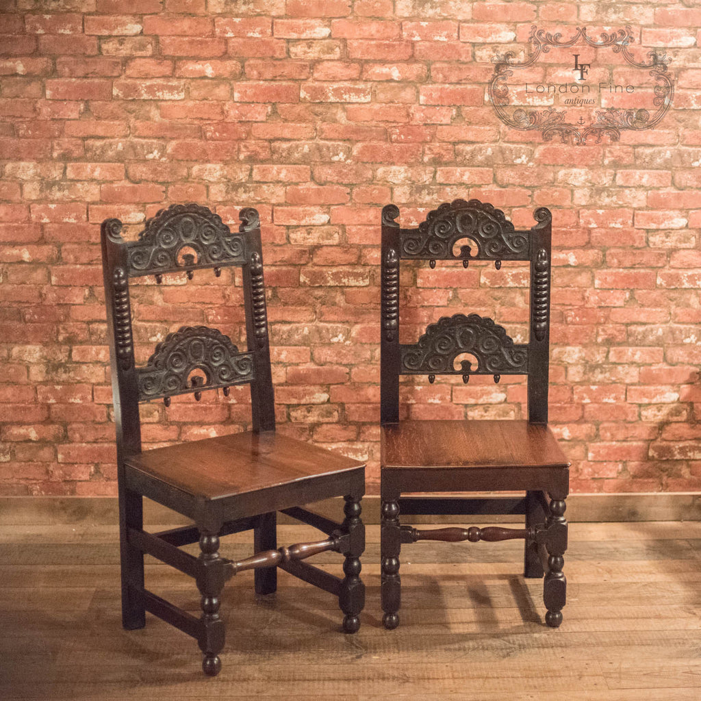 Victorian Pair of Oak Hall Chairs, c.1880 - London Fine Antiques - 1