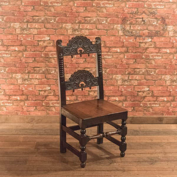 Victorian Pair of Oak Hall Chairs, c.1880 - London Fine Antiques - 3