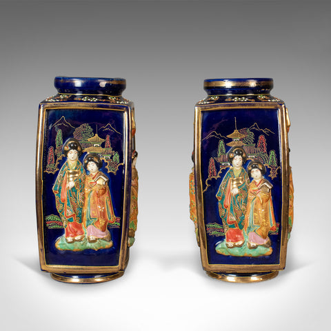 Antique Pair of Japanese Vases, Ceramic Pots, 20th Century