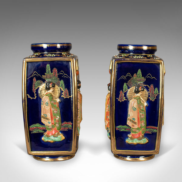Antique Pair of Japanese Vases, Ceramic Pots, 20th Century - London Fine Antiques