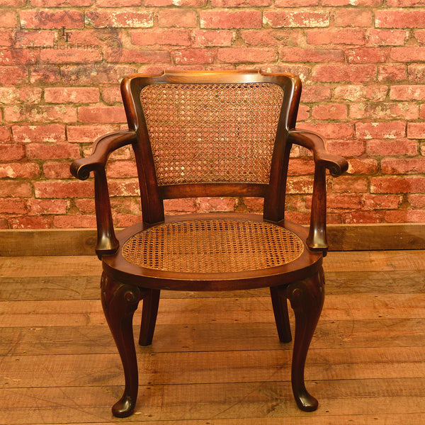 A Pair of Early 20th Century Beech & Cane Armchairs - London Fine Antiques