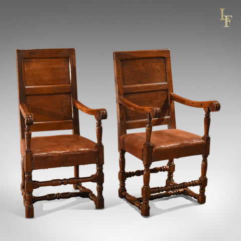 18th Century and Later Pair of Similar Panel Back Antique Armchairs - London Fine Antiques