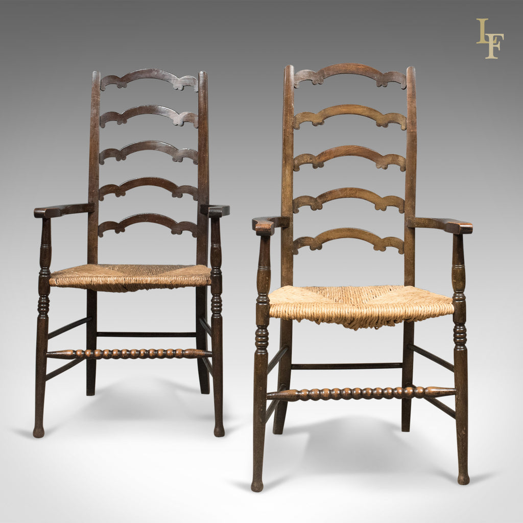 Antique Pair of Wavy Line Ladderback Elbow Chairs, Edwardian Dining c.1910 - London Fine Antiques