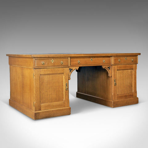 Antique Partner's Desk, John Taylor & Son, Edinburgh, Gothic, Oak, Circa 1870 - London Fine Antiques