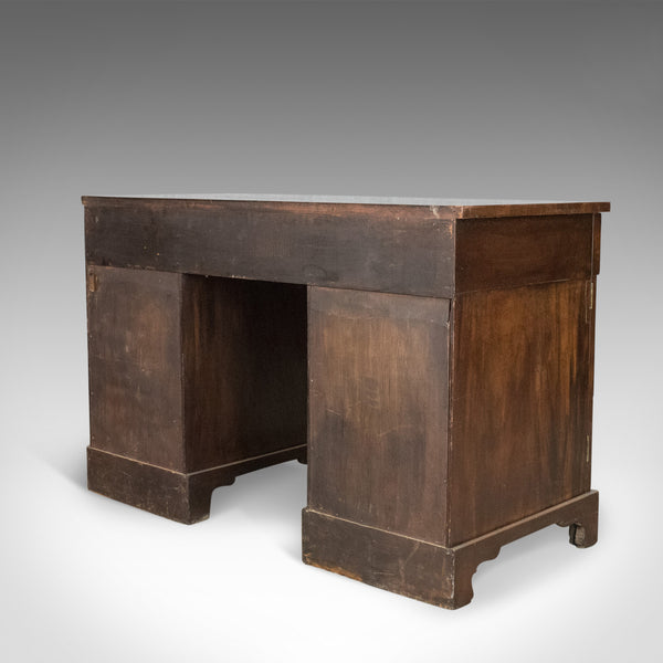 Antique Pedestal Desk, Flame Mahogany, English, Victorian, Library, Circa 1850