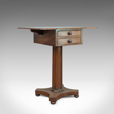 Antique Pembroke Work Table, English, Victorian, Flame Mahogany, Drop Flap c1840 - London Fine Antiques