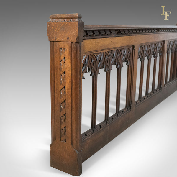 Antique Pew Front, Victorian Gothic Choir Stall, English, Oak, Pugin Overtones c.1880 - London Fine Antiques