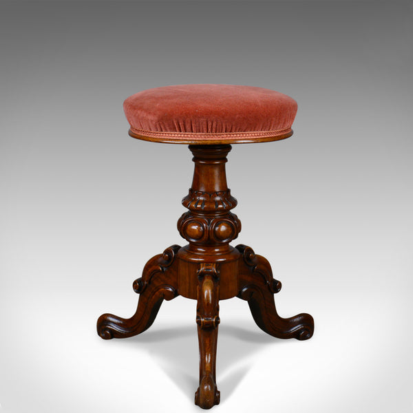 Antique, Piano Stool, Walnut, Adjustable, English, Victorian, Music Circa 1860 - London Fine Antiques