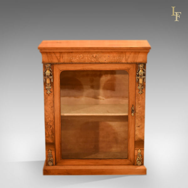 Antique Pier Cabinet, Victorian Burr Walnut c.1850 - London Fine Antiques