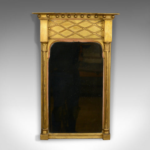 Antique Pier Mirror, English, Regency, Giltwood, Gesso, Wall, Circa 1820