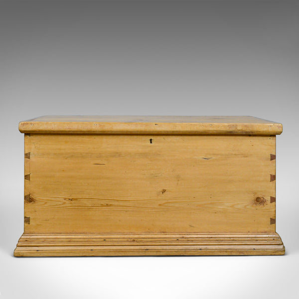 Antique Pine Trunk, English, Victorian, Blanket, Carriage Chest, Box, Circa 1880