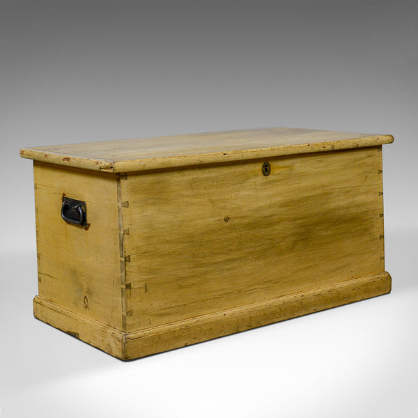 Antique Pine Trunk, Victorian, Blanket Chest, Box Early 20th Century, Circa 1900 - London Fine Antiques
