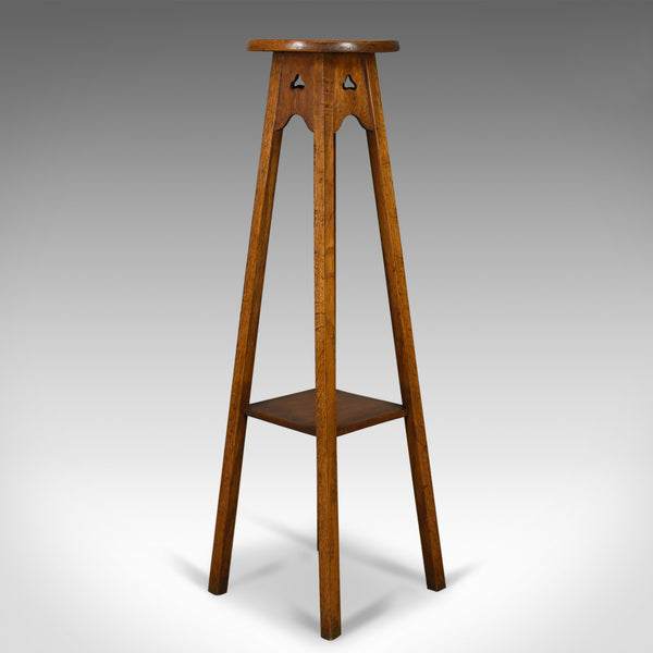 Antique Plant Stand, Arts & Crafts, Torchere, Liberty Taste, Oak, Circa 1910