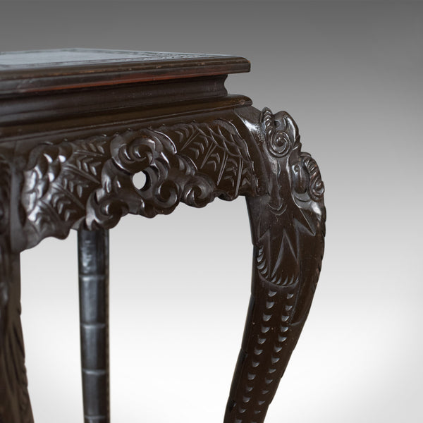 Antique Plant Stand, Carved Chinese Side Table, Torchere, Pedestal Circa 1910 - London Fine Antiques