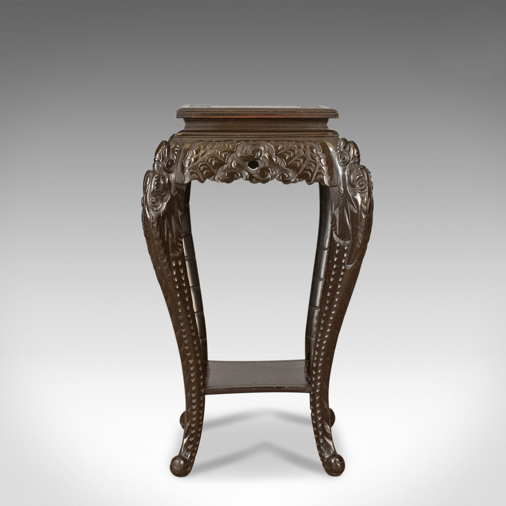 Genial Antique Plant Stand, Carved Chinese Side Table, Torchere, Pedestal Circa  1910   London