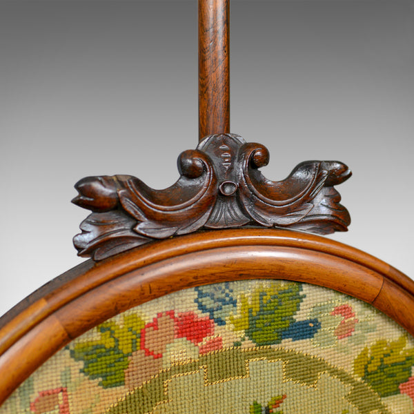 Antique, Pole Screen, Regency, Fire Screen, Needlepoint Tapestry Circa 1820