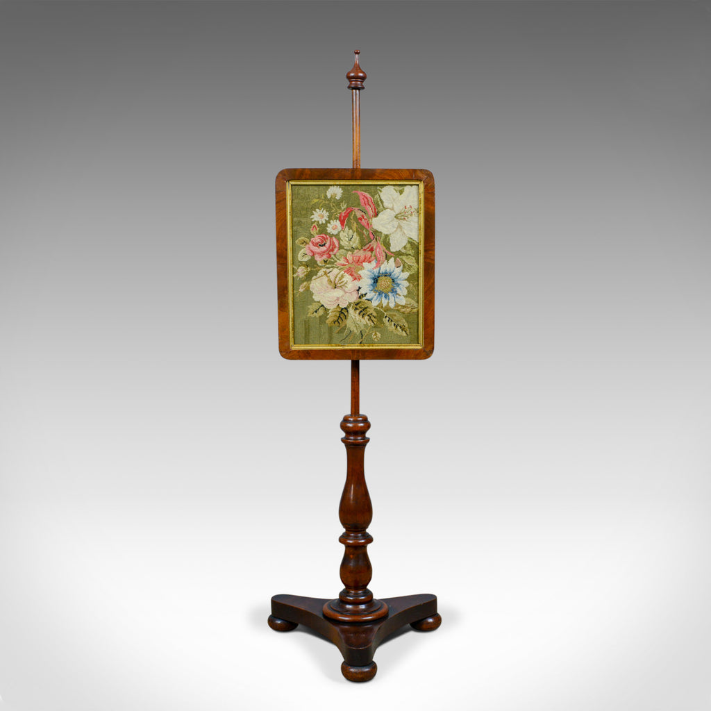 Antique Pole Screen, English, Regency, Walnut, Fire, Needlepoint, Tapestry c1820 - London Fine Antiques