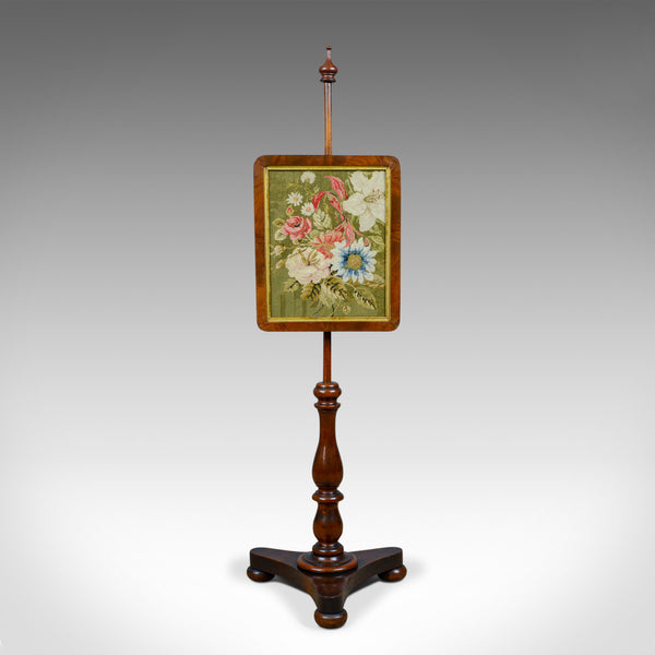 Antique Pole Screen, English, Regency, Walnut, Fire, Needlepoint, Tapestry c1820