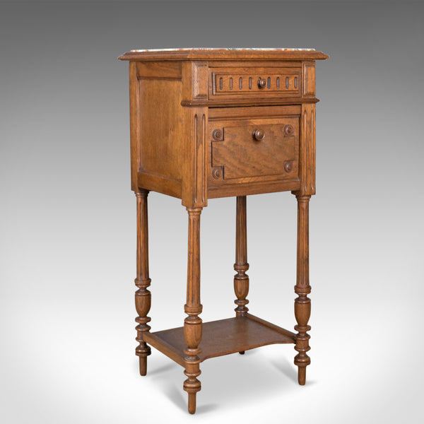 Antique Pot Cupboard, French, Marble Top, Bedside Cabinet, Nightstand Circa 1900 - London Fine Antiques