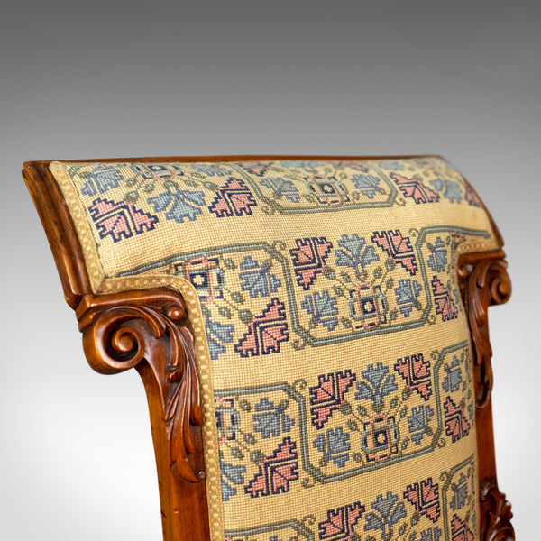 Antique Prie Dieu Chair, Early Victorian, Walnut Needlepoint Tapestry Seat c1840 - London Fine Antiques