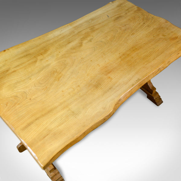 Antique Refectory Dining Table, English, Farmhouse, Elm, Victorian, Circa 1900