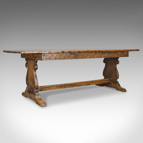 Antique Refectory Table, Oak Dining, Jacobean Taste, Seating up to Ten, c.1900
