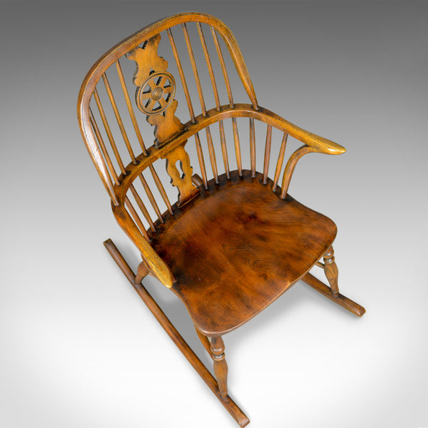 Antique Rocking Chair, English, Edwardian, Windsor Stick Back, Elbow, Circa 1910 - London Fine Antiques