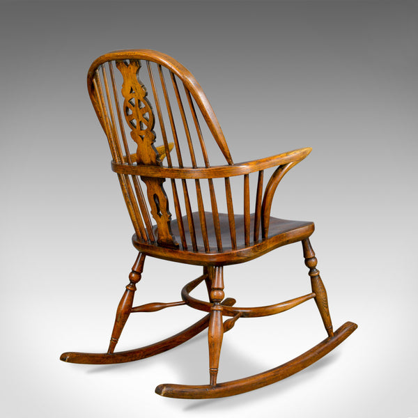 Antique Rocking Chair, English, Edwardian, Windsor Stick Back, Elbow, Circa 1910